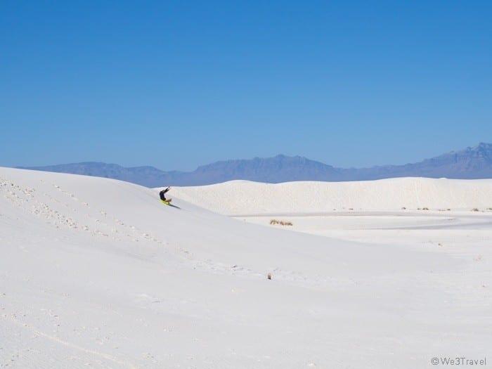 sledding at White Sands