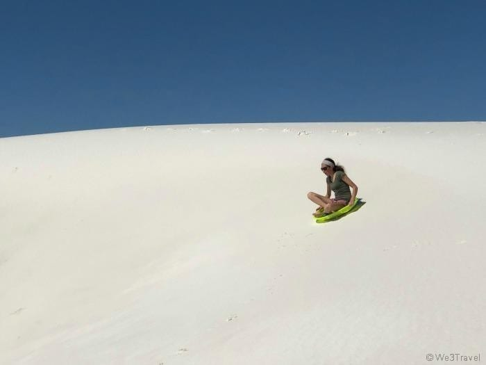 Sledding in White Sands New Mexico