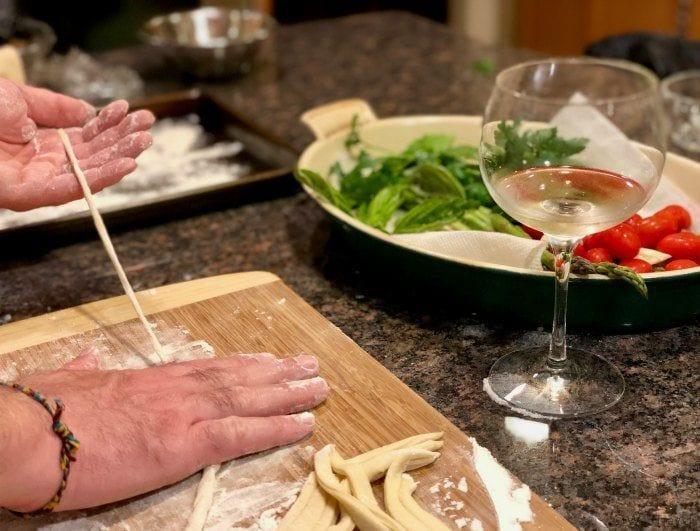 Rolling pici pasta