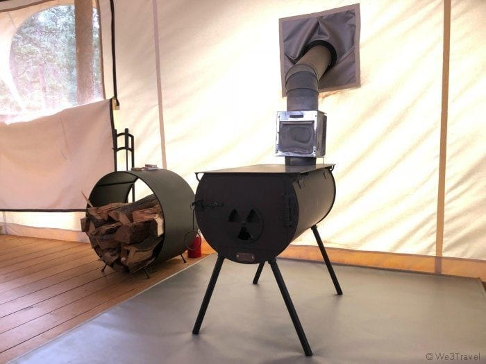 Under Canvas wood stove