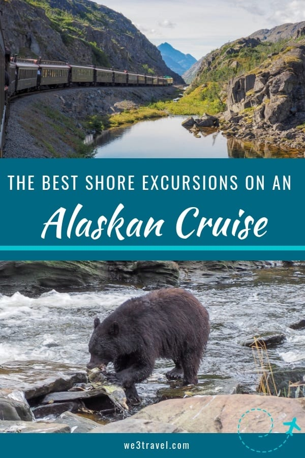 Best Alaska Cruise excursions for families pin with Skagway train and Neets Bay bear watching