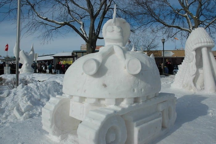 Winter snow sculptures in Lake Geneva