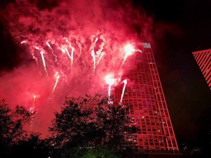 Chicago tree lighting fireworks