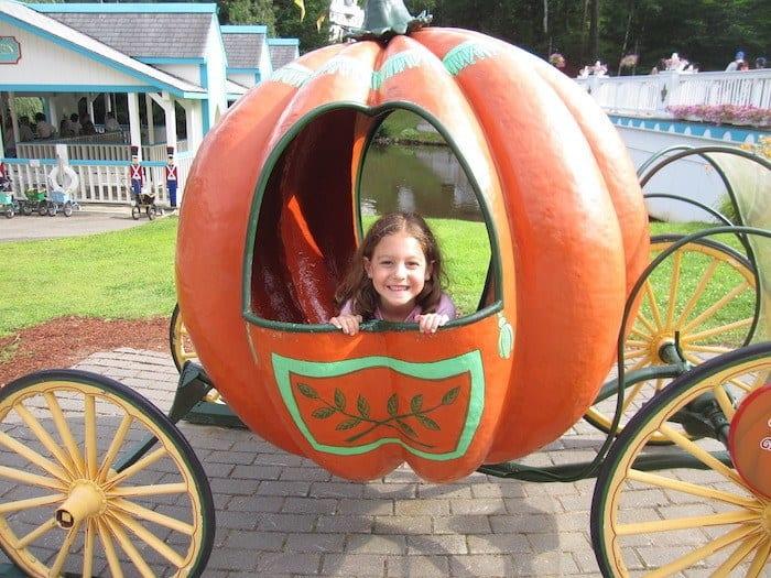 pumpkin carriage at Storyland