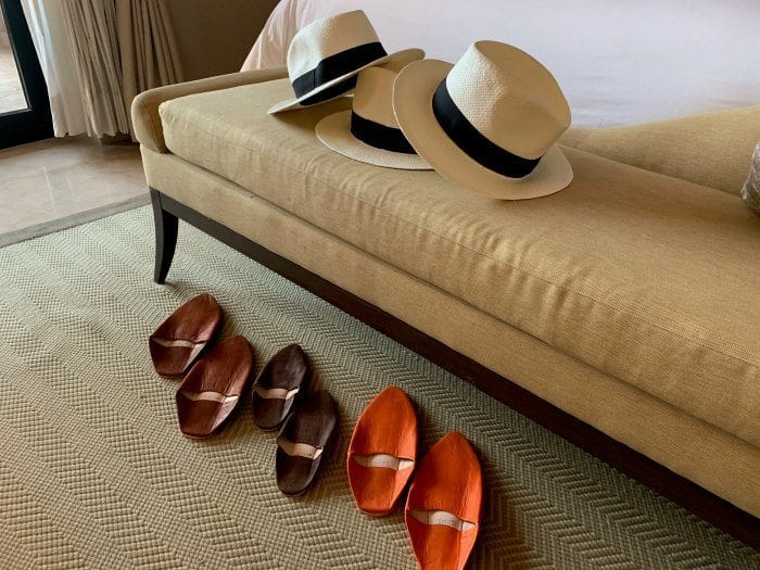 Hats and slippers at the Four Seasons