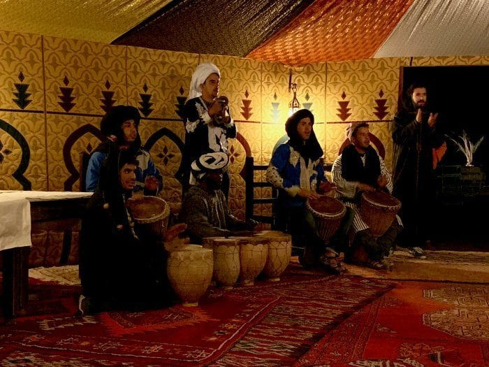 Berber drummers inside the dining tent