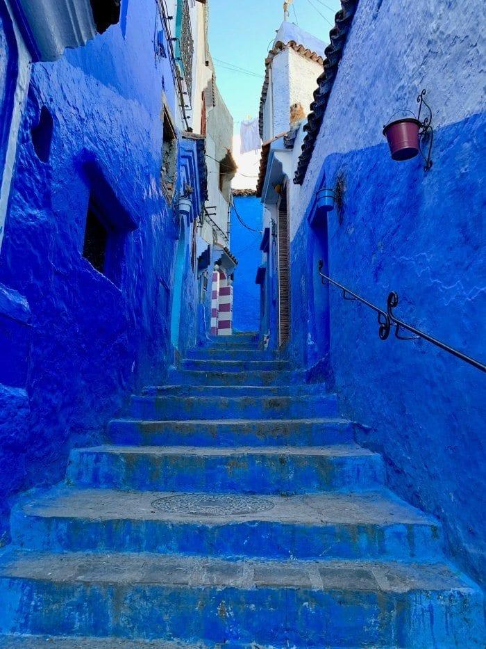 Dark blue steps in Chefchaouen