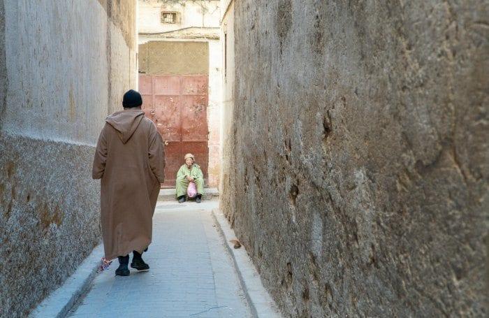 man walking in the Fes medina