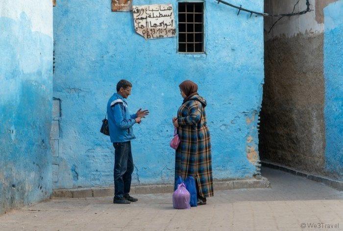 people talking in Fes medina
