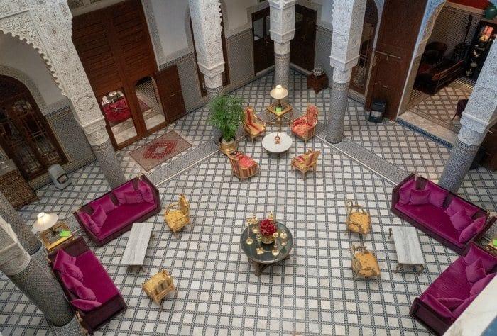 The lobby of Riad Fes