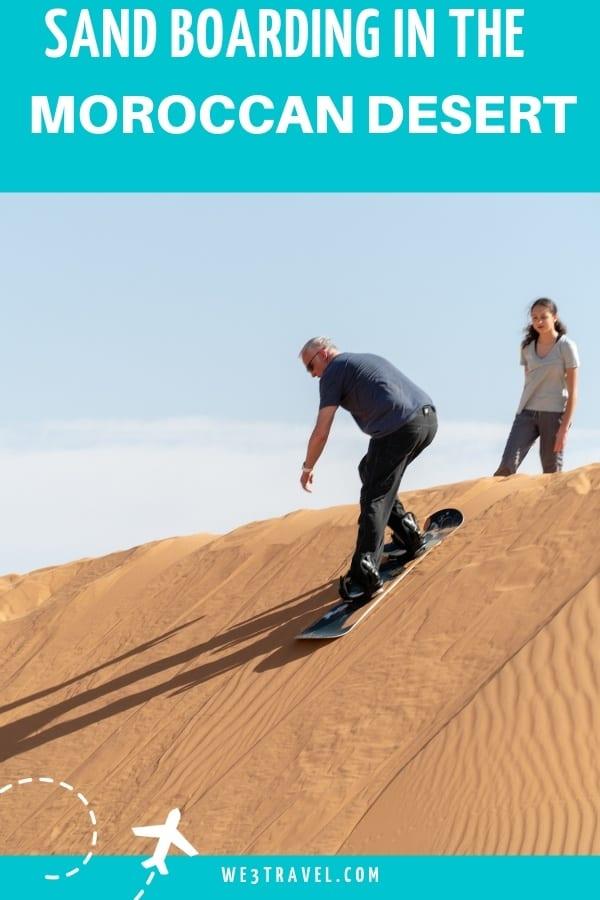 Go sand boarding in the Moroccan desert when you stay at a luxury desert camp. #morocco #sandboarding #desert