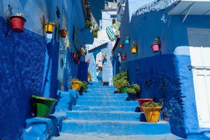 Chefchaouen blue steps and flower pots