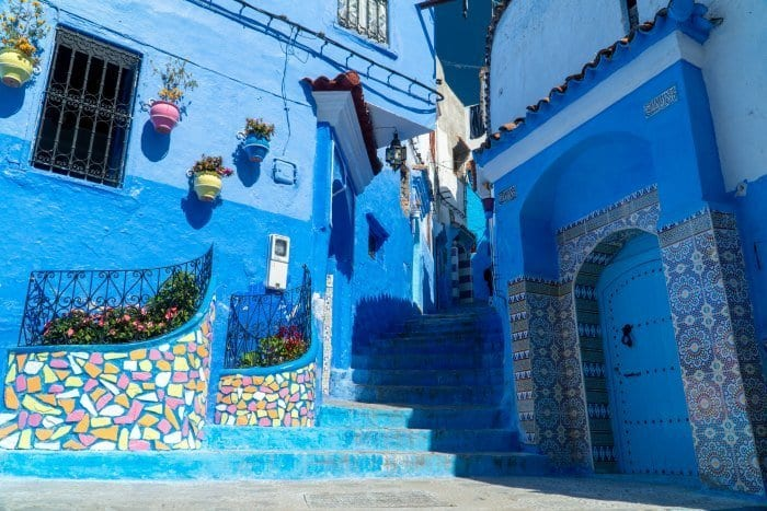 Blue steps with colorful tile