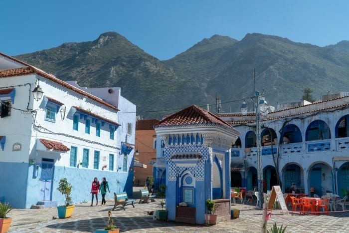 Chefchaouen well and Rif Mountains