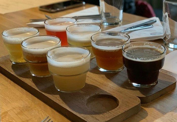 Beer flight at Walled City Brewery