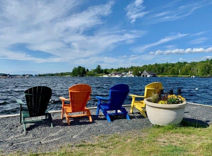 Adirondack chairs overlooking Moosehead Lake