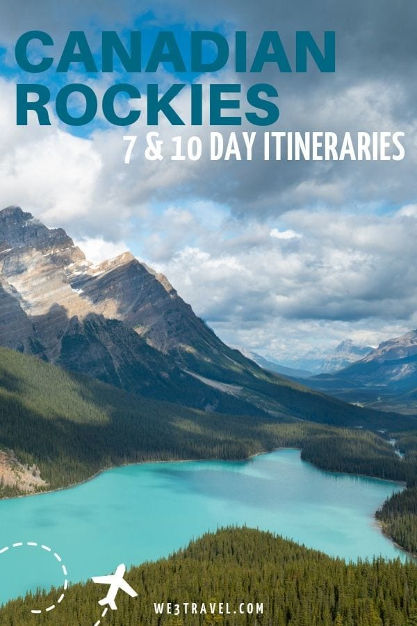 Canadian Rockies itinerary for a 7 or 10 day road trip from Calgary to Lake Louise, Jasper, Banff, and even Canmore and Kananaskis for a fun vacation.