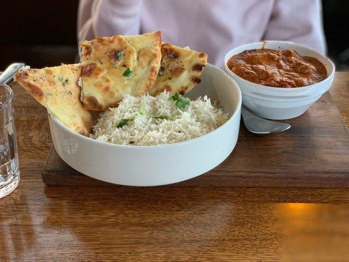 Butter chicken and rice at Earl's