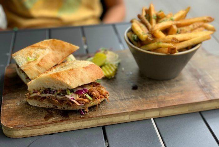 Pulled pork sandwich at Maligne Wilderness Kitchen