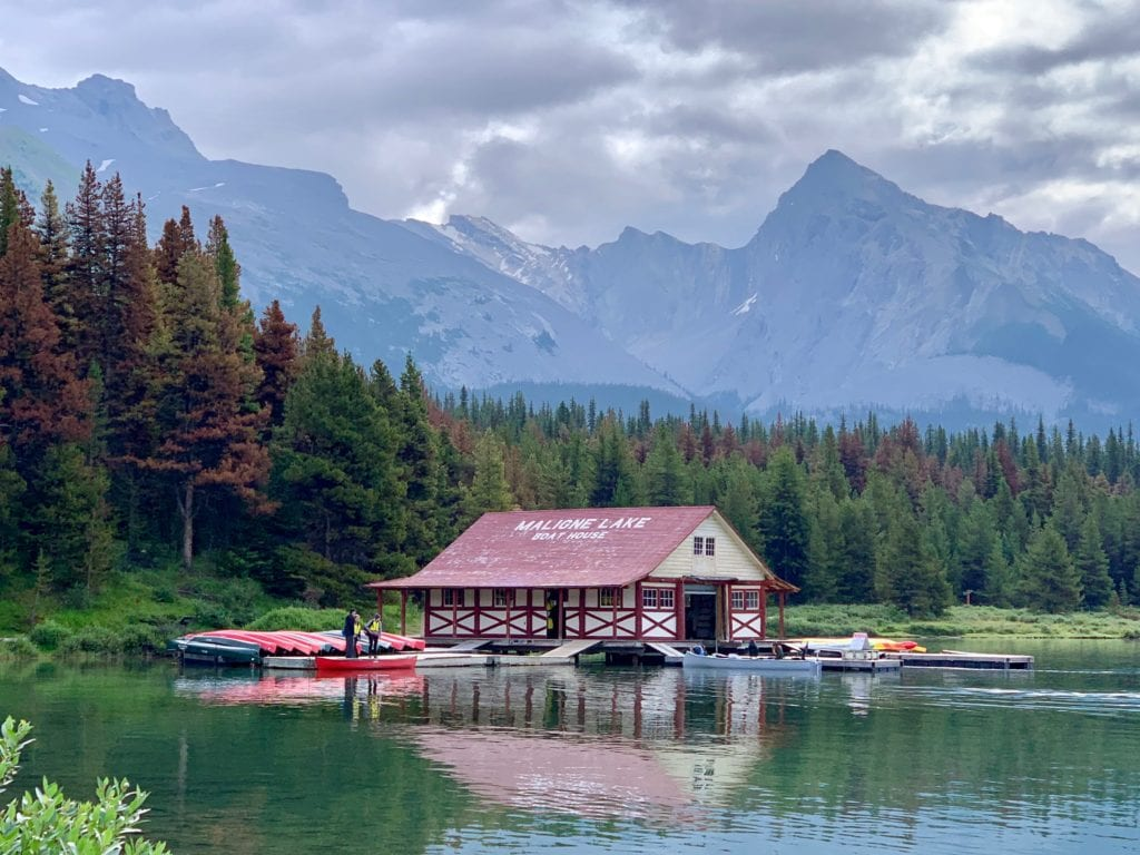 Maligne Lake boat house in Jasper