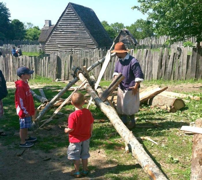 Splitting wood at Plimouth Plantation