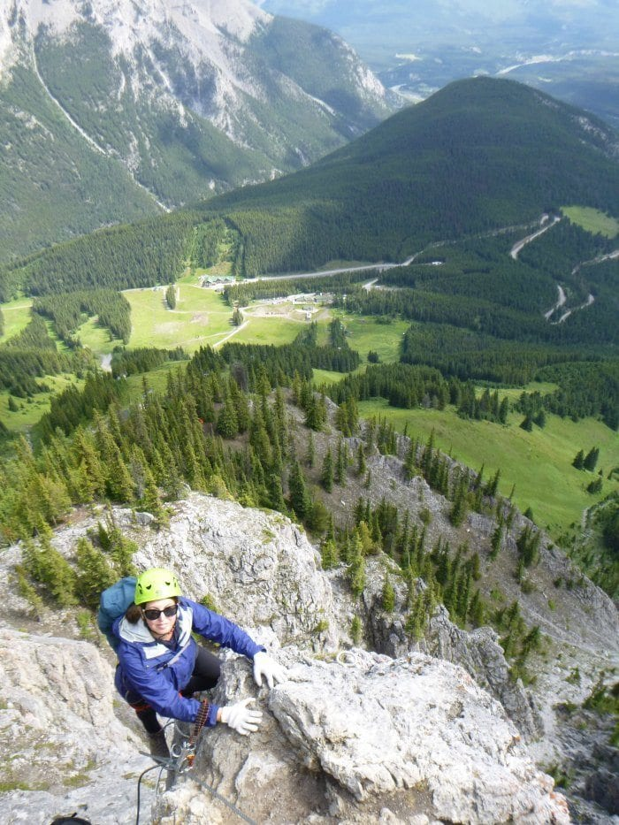climbing to the top of Mt Norquay