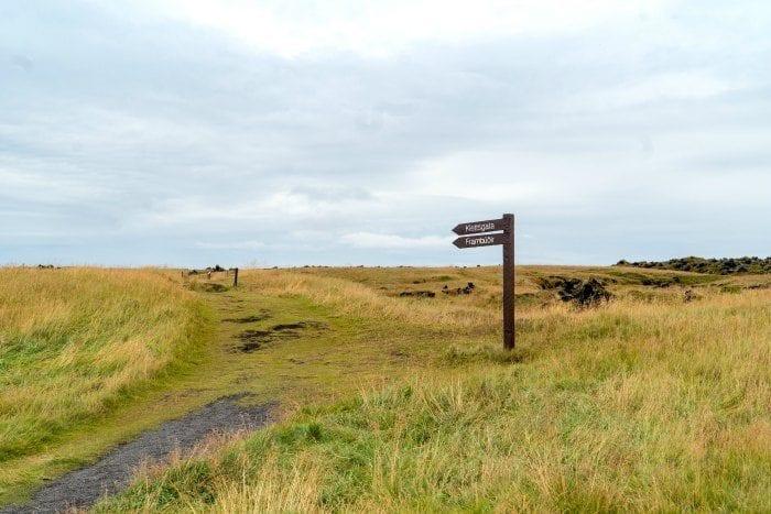 Trail signs at Budakirkja