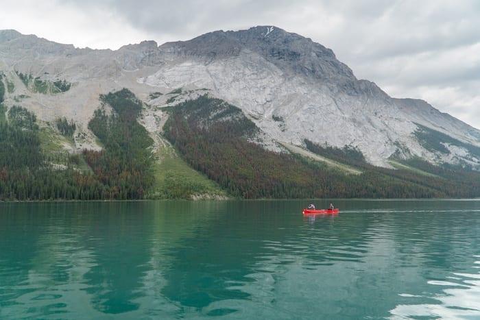 Canoe on Maligne Lake