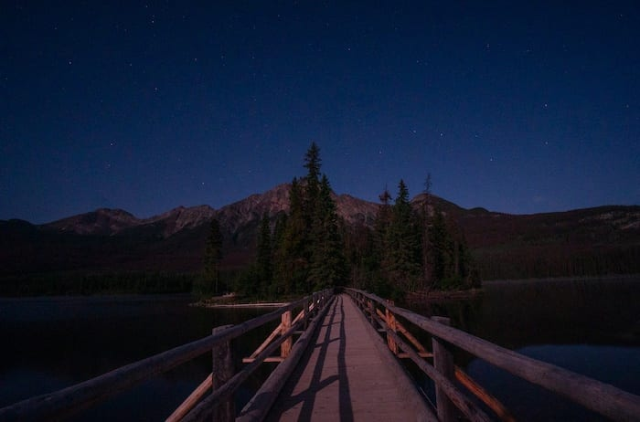 Pyramid Island at night