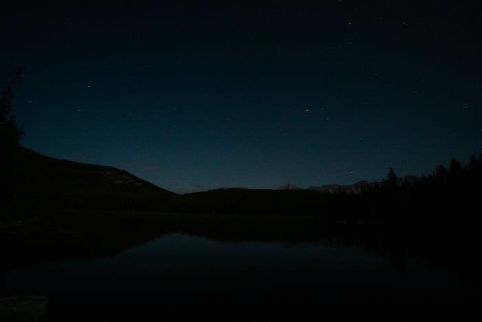 Pyramid Lake at night