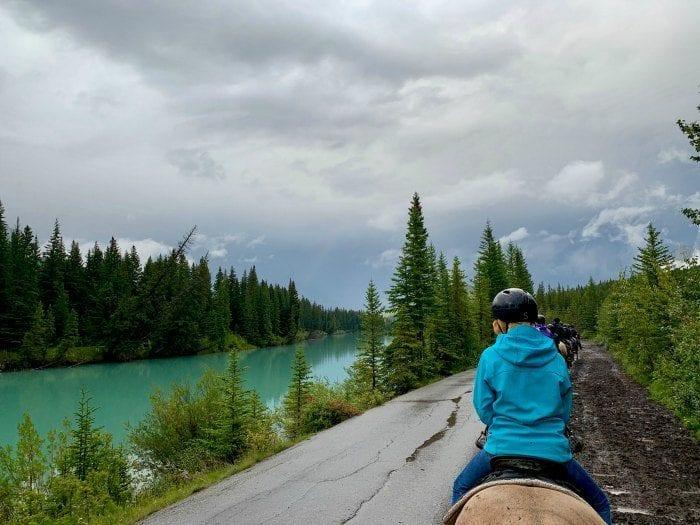 Horseback riding in Banff along the Bow River
