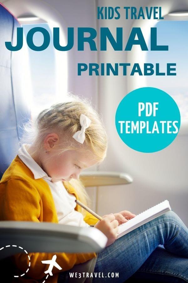 Kids travel journal printable PDF templates