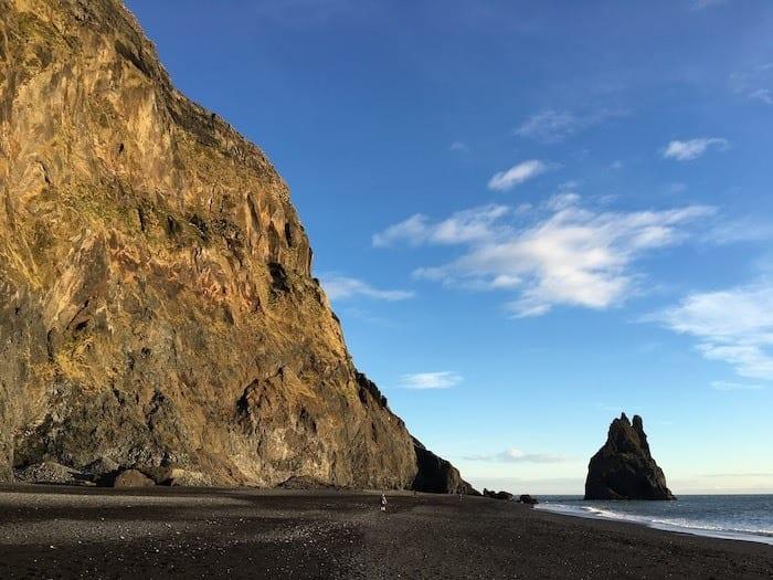 Reynisfjara black sand beach and cliff
