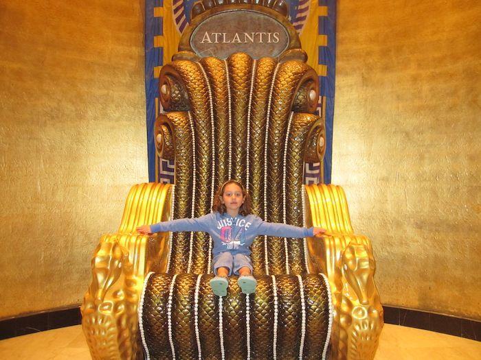 Girl on throne in the Atlantis lobby