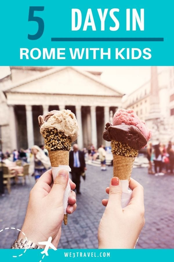 5 days in Rome with kids - two hands holding gelato in front of the Pantheon