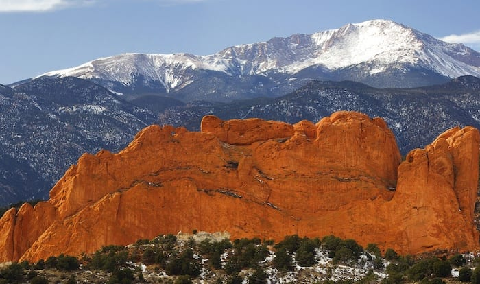 Garden of the Gods with Pike's Peak in the background
