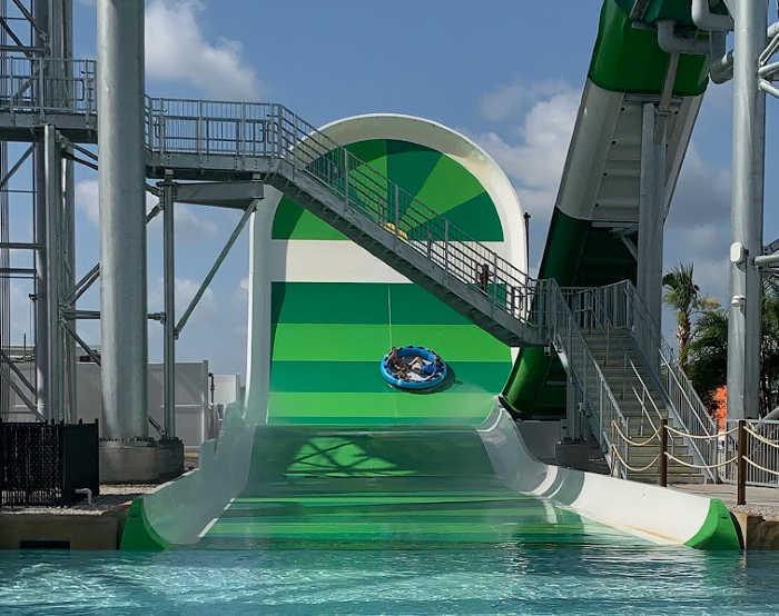 Green tube slide at Island H2O Live