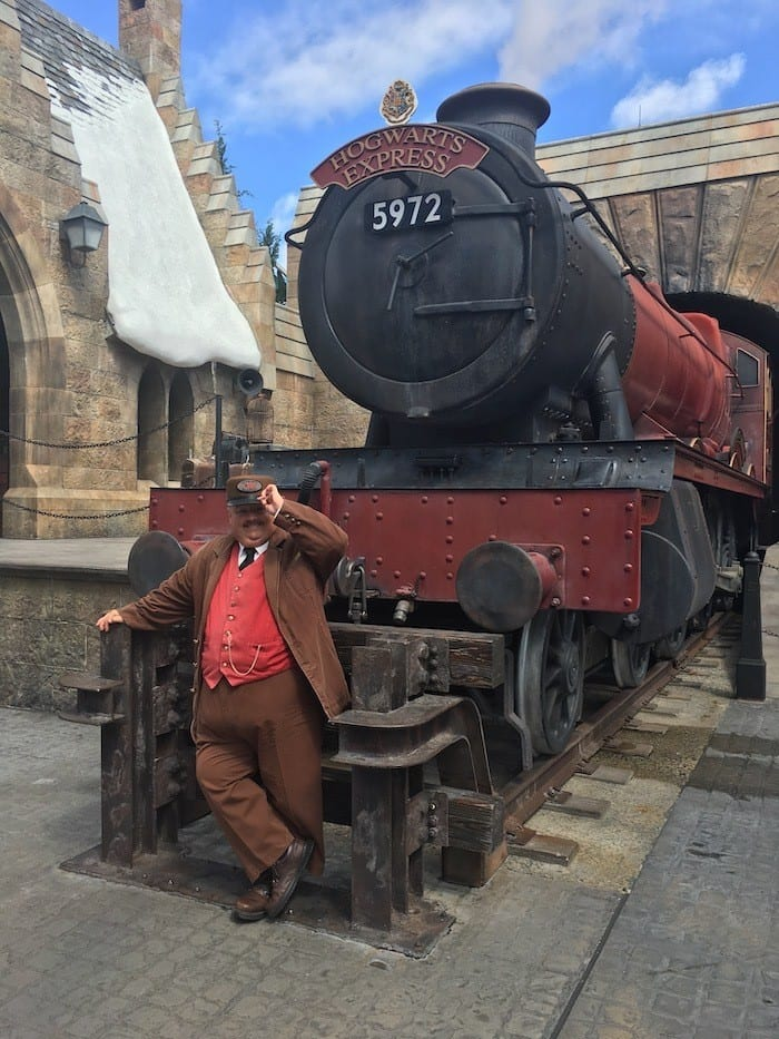 Hogwarts express train and conductor in Hogsmeade