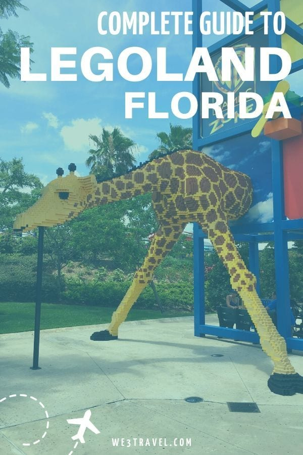 Complete guide to Legoland Florida with lego giraffe bending down