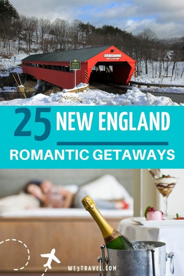 25 New England Romantic Getaways red covered bridge and champagne in ice bucket