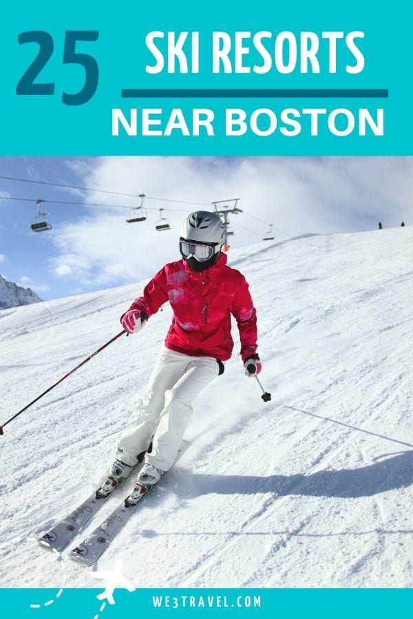 25 ski resorts near Boston skier in red jacket and white pants on slope with lift behind them