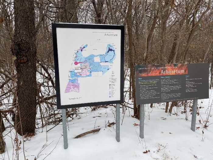 University of Wisconsin Madison Arboretum trail sign