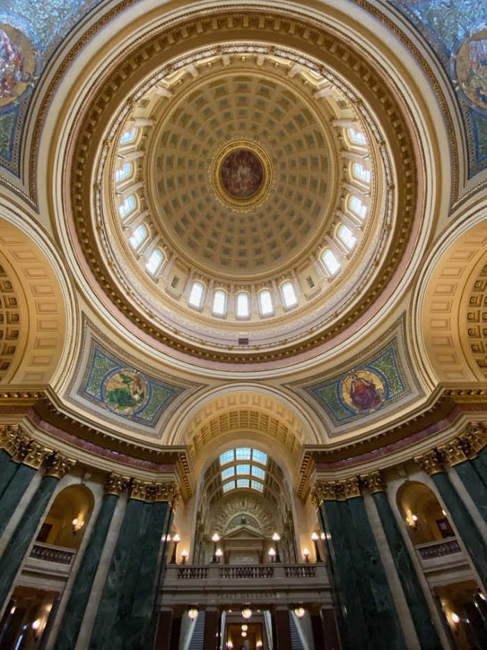 Wisconsin state capitol dome from the inside