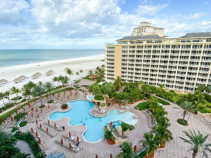 Pools from above at the JW Marriott Marco Island