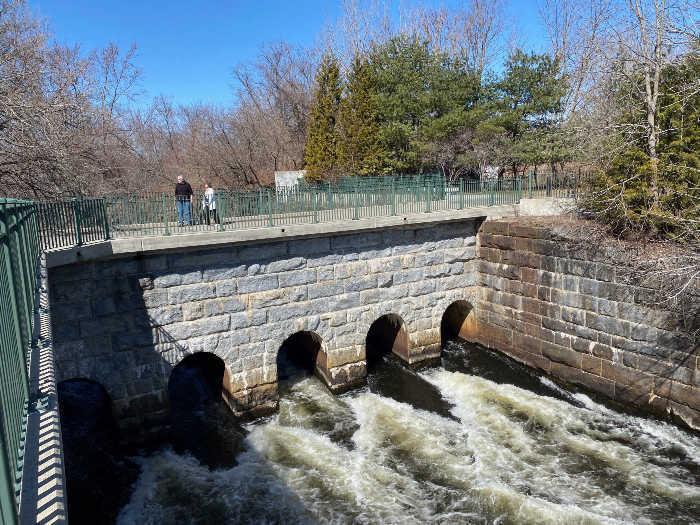 Blackstone Valley bike path dam