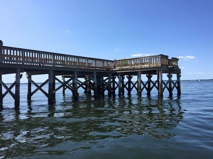 Colt State Park Pier at the end of the East Bay Bike Path