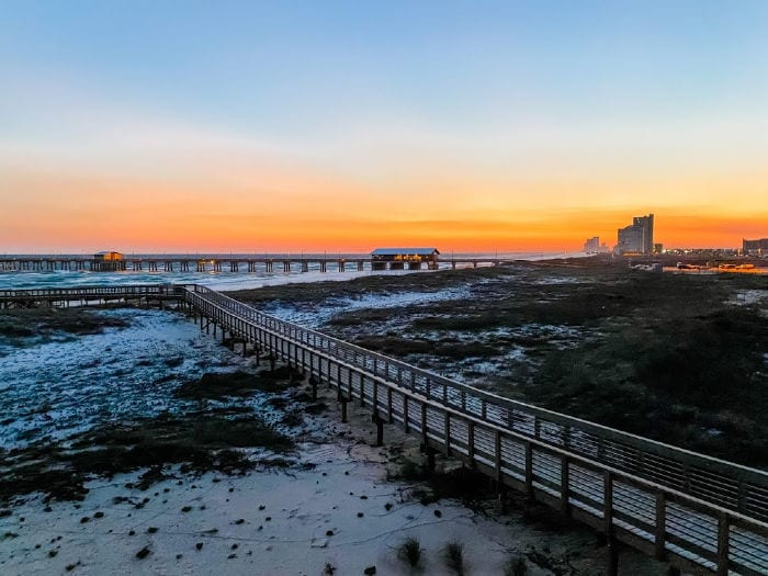 Gulf State Park Pier at sunset from Perch