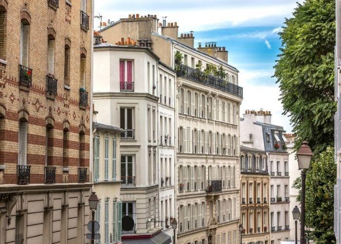 Paris apartment buildings on the outside