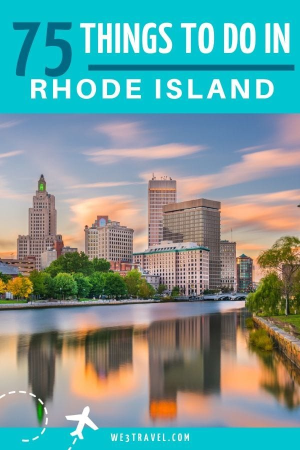 75 Things to do in Rhode Island with Providence skyline at sunset with reflection on the river
