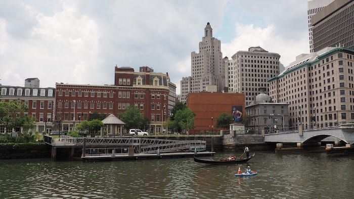 Gondola in river with Providence skyline in background
